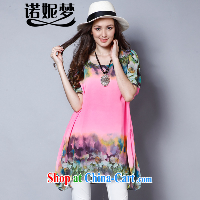 Connie's dream 2015 new Europe and North America, the female summer is the increased emphasis on MM elegant stamp duty loose short-sleeved snow woven dresses J 1319 pink XXXXL