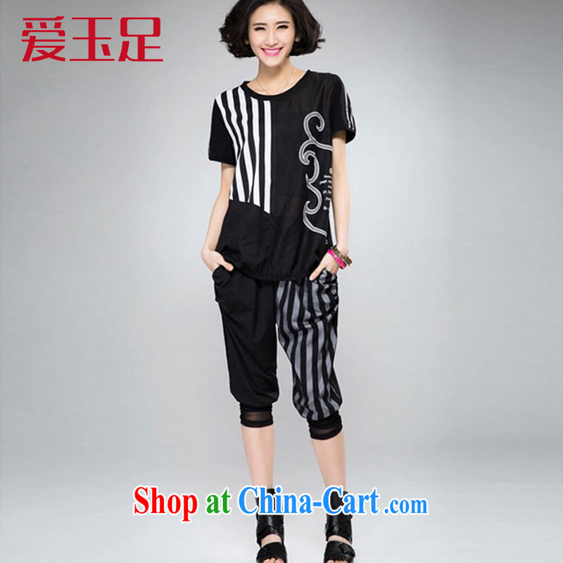 love of jade's 2015 summer mm thick and fat increases, female short-sleeve shirt T streaks 7 pants 200 Jack sport and leisure suite 8068 black XL