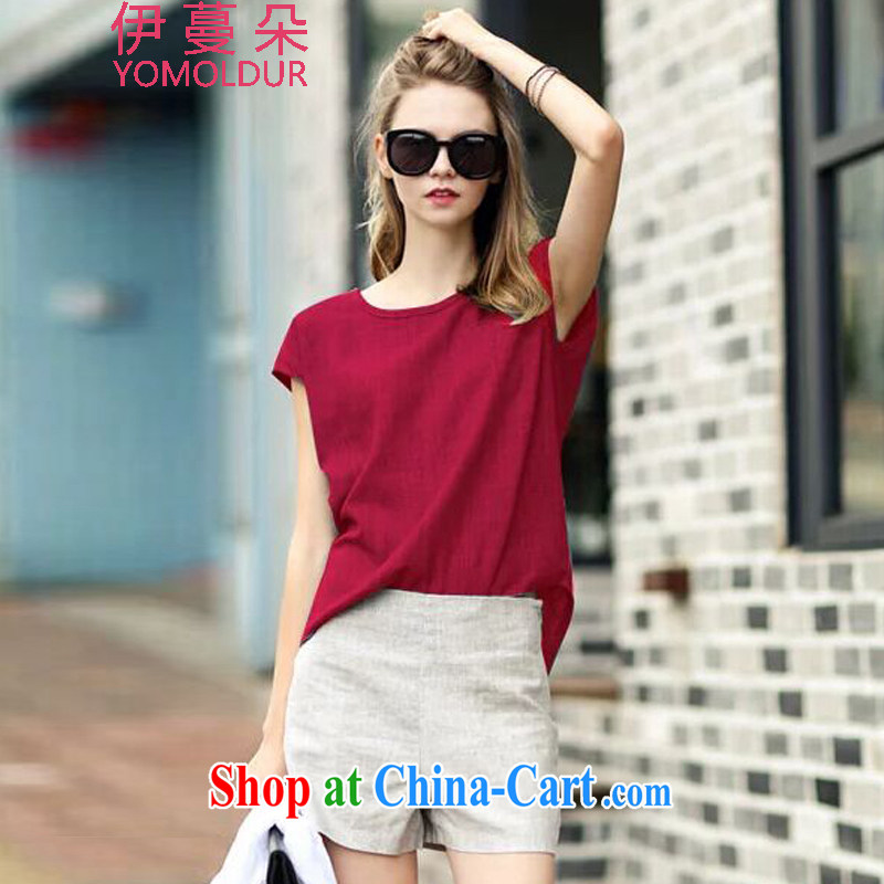 The evergreens flower summer 2015 new stylish casual linen high-waist graphics thin large Code women package DM 615 red M