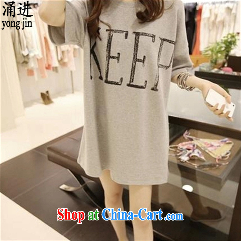 The 2015 summer new, loose the fat XL female T shirts skirts casual graphics thin thick MM cuff in 2819 skirt gray XXL