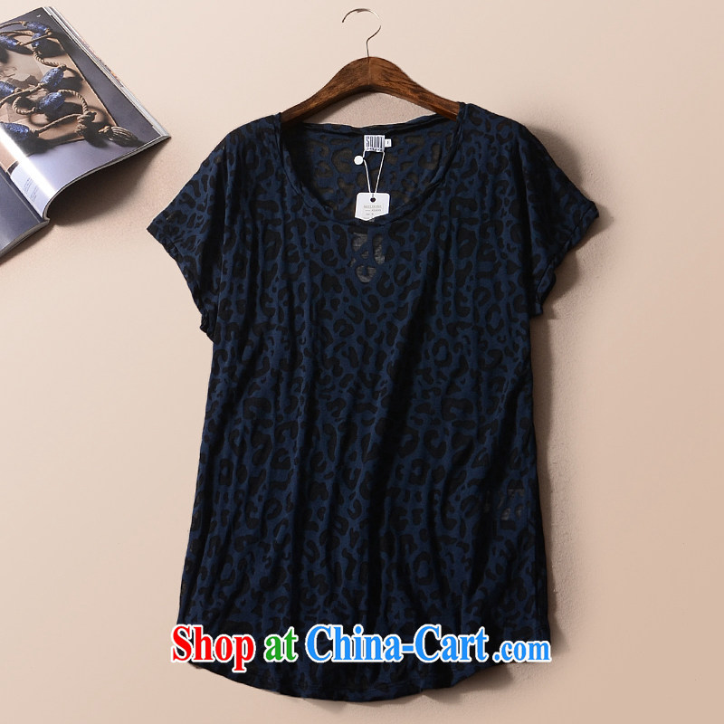 2015 mm thick summer with large foreign trade, women with the Single European T shirt leopard print short-sleeve slim, King, bwt dark Leopard color XL