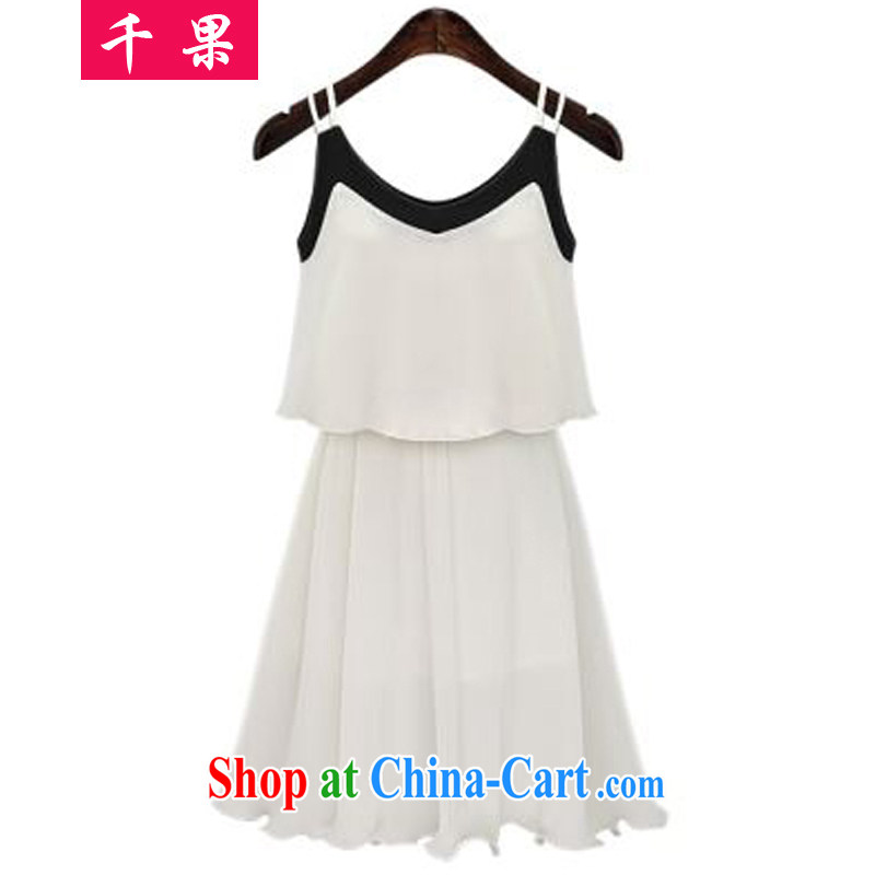 1000 fruit 2015 summer 100 folds in Europe and America as well as larger female thick MM 200 Jack loose video thin sleeveless strap vest snow woven dresses 388 white 5 XL