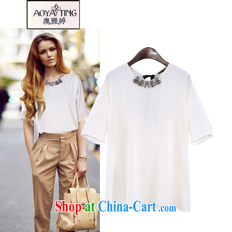 o Ya-ting 2015 New, and indeed increase, female summer mm thick loose video thin, short-sleeved shirt T Snow woven shirts white 3XL recommends that you 145 - 165 jack