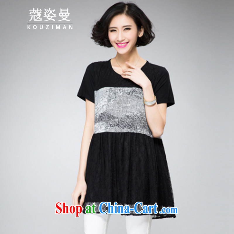Kou colorful Cayman 2015 summer new thick sister XL girls thick mm thick, graphics thin, snow-woven lace loose short-sleeved dresses black Map Color 4 XL