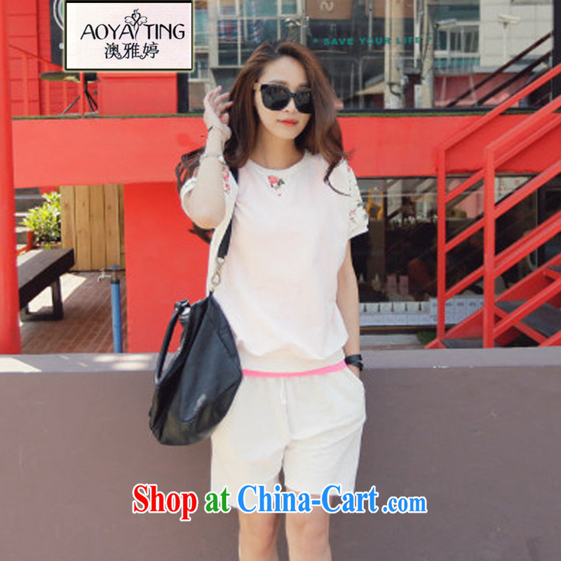 o Ya-ting 2015 New, and indeed increase, female summer thick mm short-sleeve T-shirt loose shorts sport and leisure Package white two-piece 4 XL recommends that you 160 - 180 jack