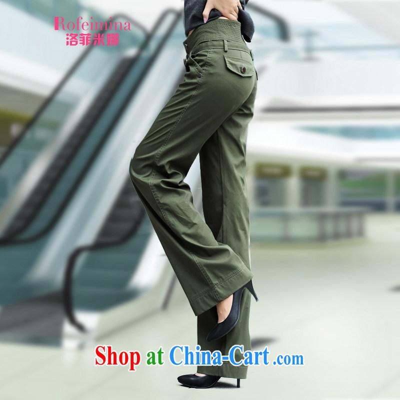 Rockefeller M, 2015 female new, larger female summer, high waist Wide Leg pants pants girls rug has been legged pants horn female Trouser press 069 army green 31, Rockefeller M (Rofeimina), online shopping