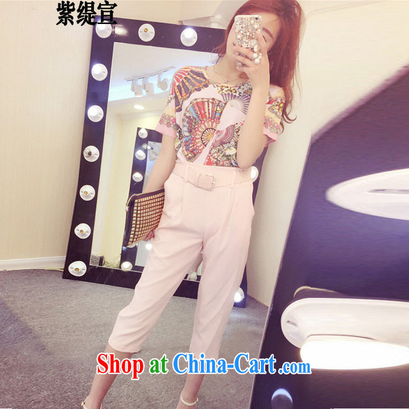 Purple long-sun mm thick graphics thin summer new Korean version the Code women mm thick stylish two-piece loose T shirt T-shirt + 7 Trouser press 7245 #3 XL 150 - 160 Jack left and right