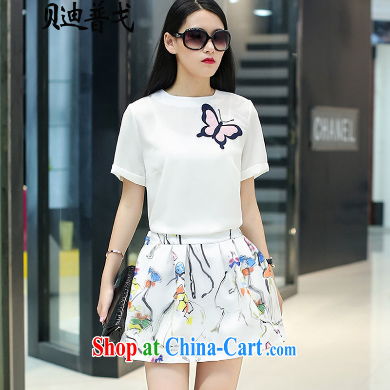 Brady, the United States and Europe and Stylish large, female summer new two-piece dresses T shirt + floral skirt white 1613 XL 115 - 130 Jack left and right