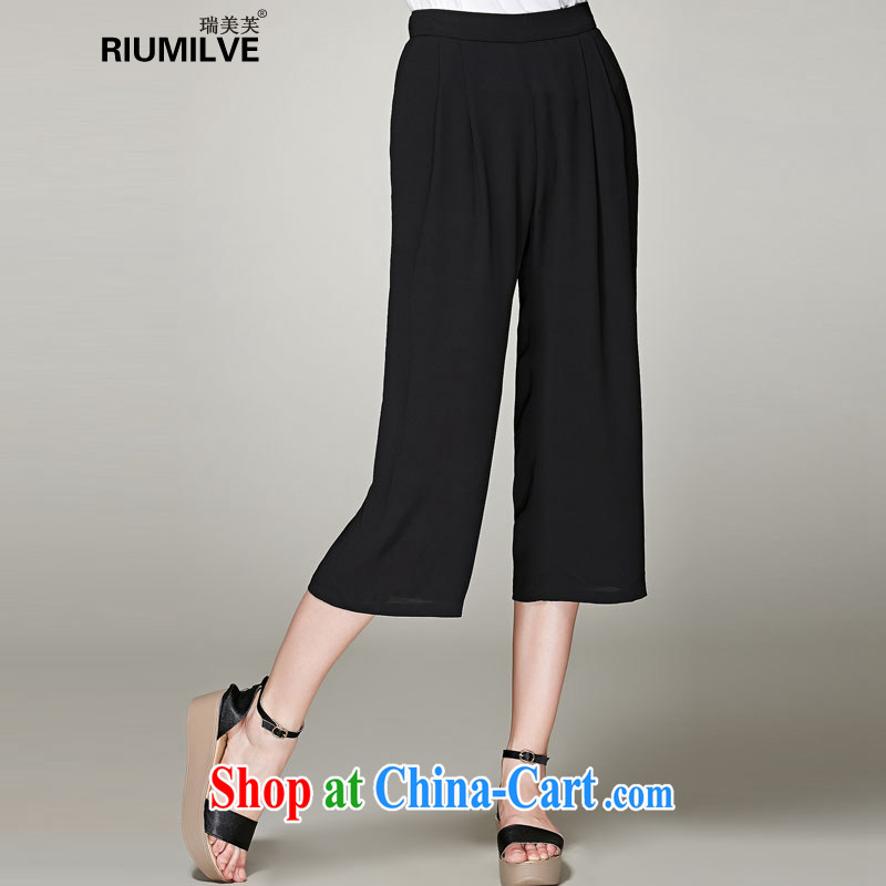 United States, 2015 will be in Europe and indeed the XL female new summer, mm thick loose video thin ice woven pants 7 pants Wide Leg trousers N 3651 black XXXL