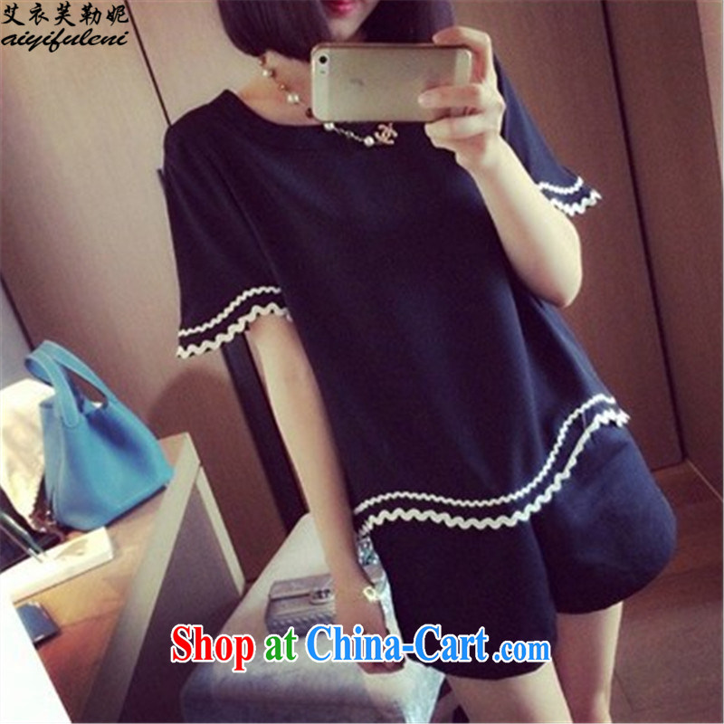 The Yi would be Connie, summer 2015 new Korean version loose the code girl with a short-sleeved shirt T shorts two pack leisure video thin 200 jack to wear 8029 black 4XL