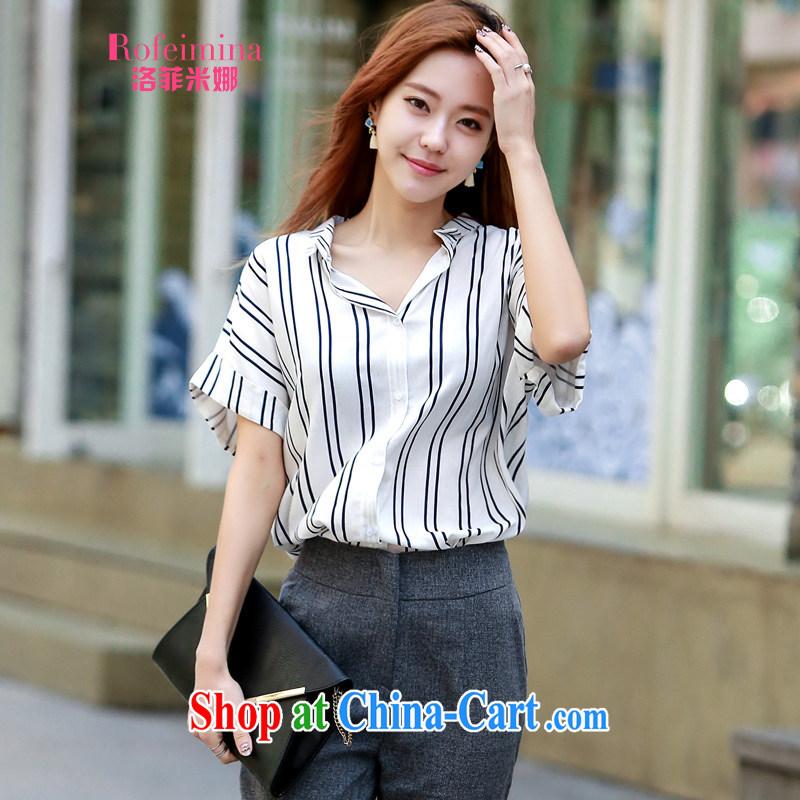 Rockefeller M, 2015 new larger female summer relaxed linen striped shirt female Korean Beauty lapel cotton Ma blouses 8227 white vertical streaks are code