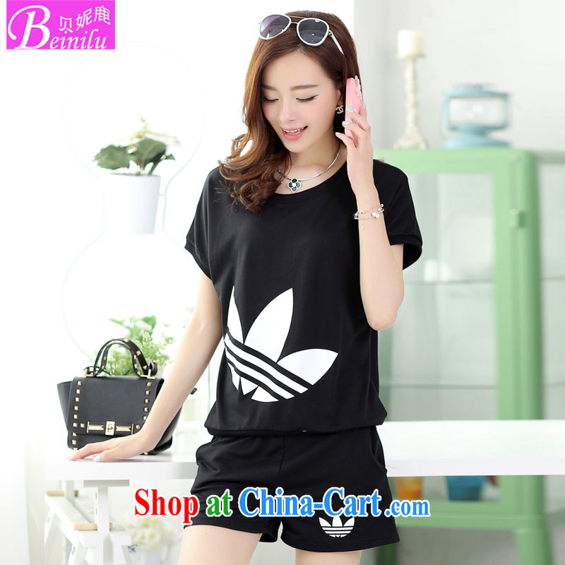 Summer 2015 new paragraph 3 leaves pattern and female T shirts shorts casual sweater sports two-piece black XXL