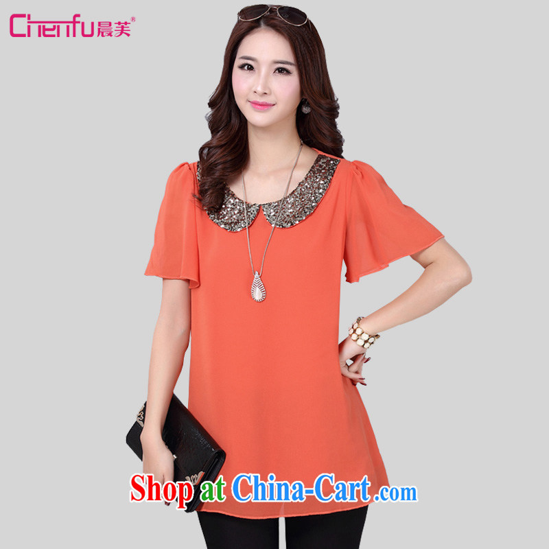 Morning would be 2015 mm thick summer wear new and indeed XL female Korean loose video thin casual doll collar, horn cuff snow woven shirts T shirts women T-shirt red-orange L