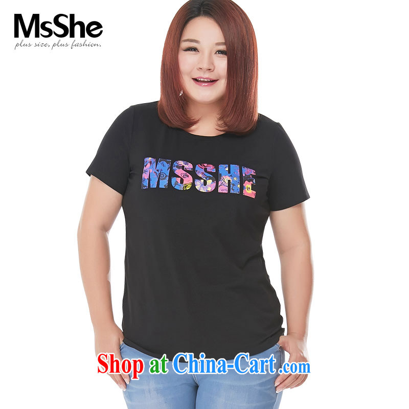 MsShe XL girls 2015 new summer thick MM stretch cotton stamp short-sleeved T-shirt graphics thin 4791 black 3 XL
