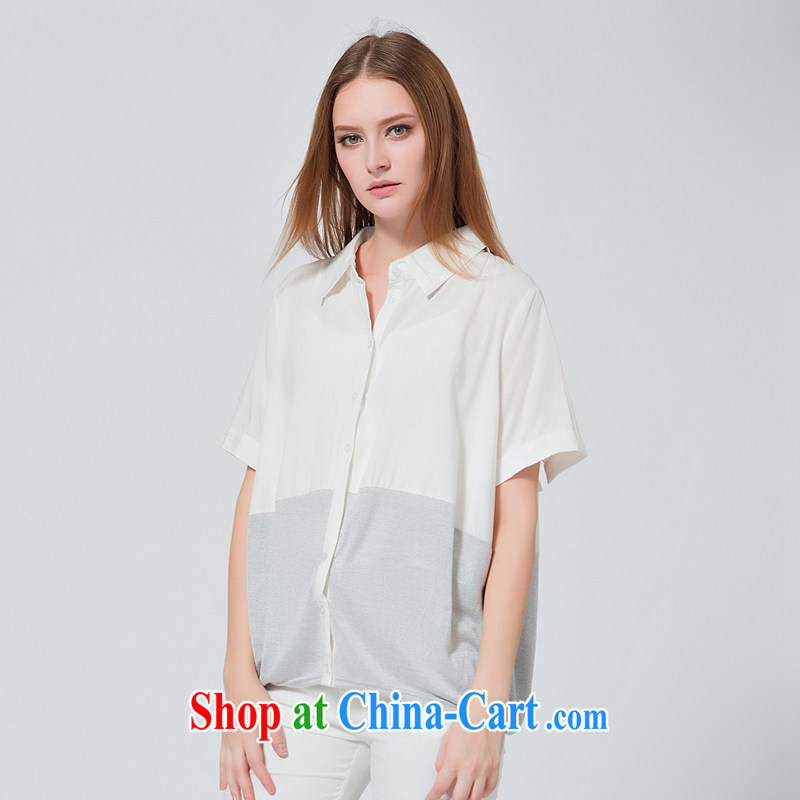EKDI_clothing and express the Code women 2015 summer New flip style bat sleeves loose video thin shirt white 2XL