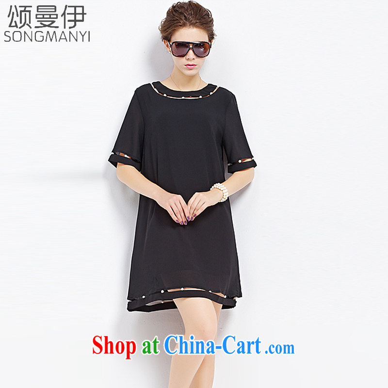 Also, the 2015 summer new Europe mm thick graphics thin minimalist in the cuff, female style dresses summer 9129 black XXXXXL