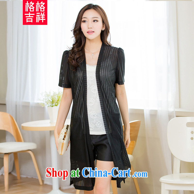 Huan Zhu Ge Ge Ge 2015 and indeed XL female summer new, long, short-sleeved cardigan wind jacket thick mm video thin air conditioning shirts sunscreen clothing black 4XL