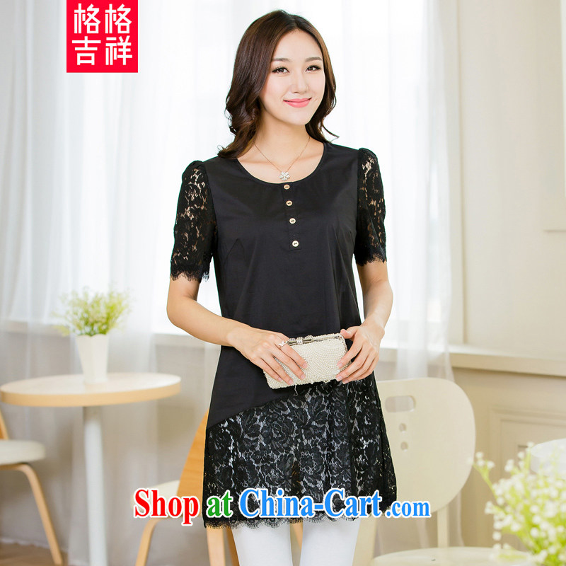 Huan Zhu Ge Ge Ge 2015 and indeed increase, female summer new lace spell series skirts mm thick beauty graphics thin for women T-shirt X 5519 black 4XL
