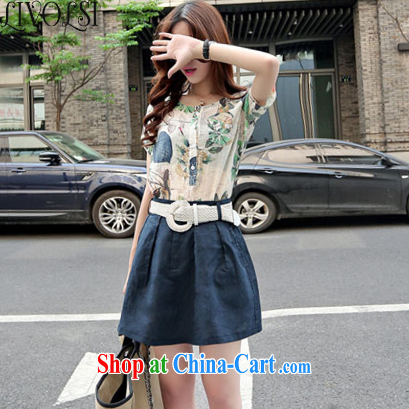 Livolsi 2015 summer Korean women loose video thin stamp short-sleeved T-shirt two-piece cotton Ma package dress collection cyan S