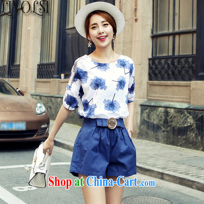 Livolsi 2015 summer new Korean version stamp duty cotton mA short-sleeved shorts two-piece fashion Leisure package name Yuan blue S