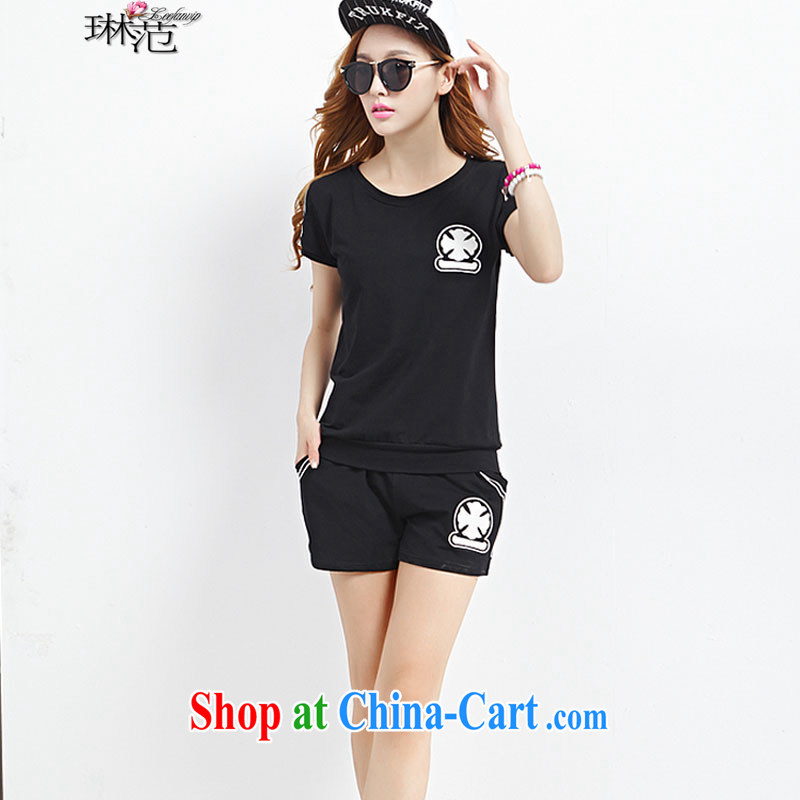 Lin van 2015 summer new larger Leisure package short-sleeved shorts female sports package 698 _black XL