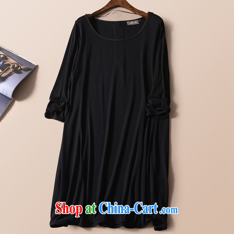 2015 mm thick summer large foreign trade, women with the Single European long T shirts dress King code 200 Jack Tik black 58_60