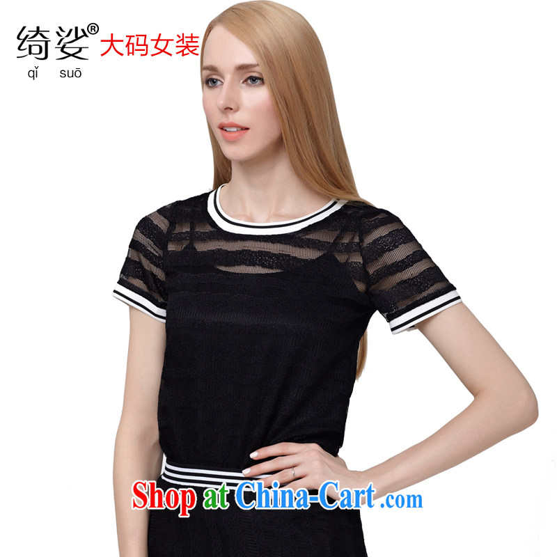 Most of the 2015 code female summer new Korean version 100 ground lace shirt graphics thin black-out poverty large short-sleeved shirt T 2802 black 3 XL