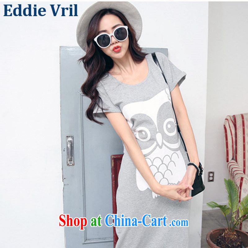 EddieVril larger cotton T-shirt skirt summer 2015 new stamp long, short-sleeved dress code the dress video thin P 66 light gray L