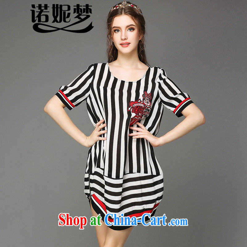 Connie's dream European and American high-end 200 Jack large, female summer is indeed the greater 2015 new thick mm stylish striped dress short-sleeved G - F 798 black XXXXXL