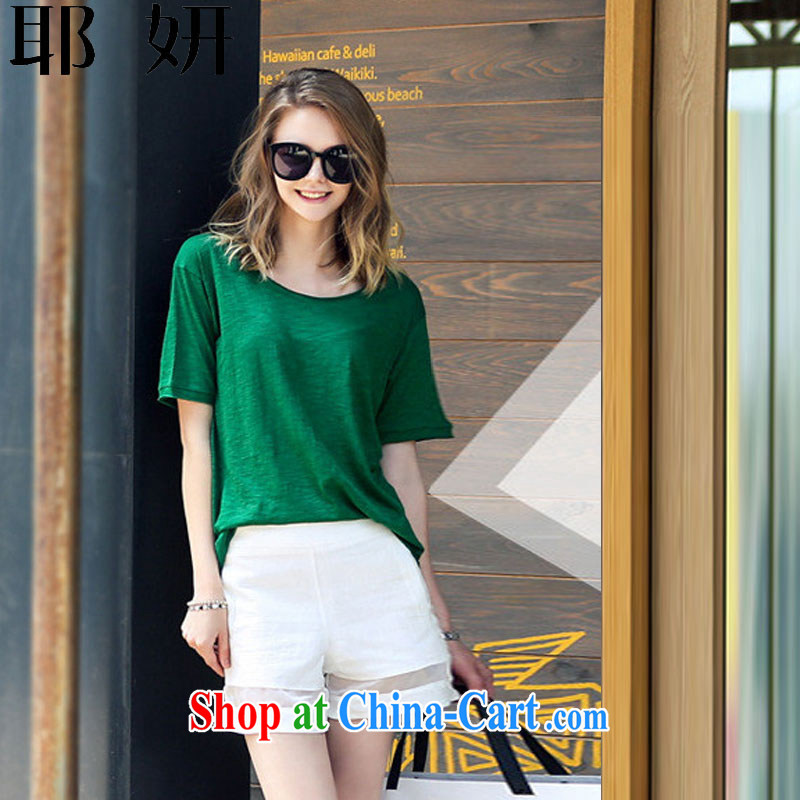 And her new Summer in Europe and America, in short, loose the code ladies short-sleeved T shirts shorts package Leisure package girls summer 8384 _green XXXXXL