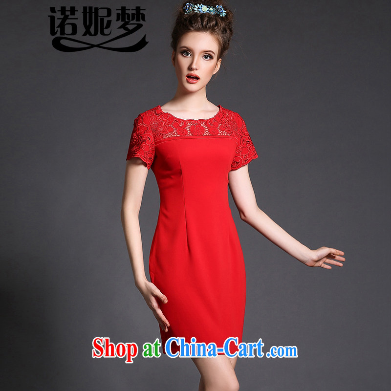 Connie's dream European and American high-end large, female summer and indeed increase 2015 new thick mm burned flower Openwork stitching cultivating graphics thin dresses G - Y 1559 red XXXXXL