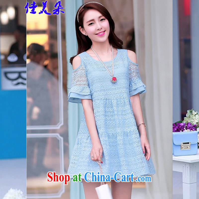 Good flower 2015 focused on her sister and indeed increase, female Spring Summer mm thick Korean video thin lace snow-woven dresses 9209 _blue 2 XL 125 - 135 Jack left and right