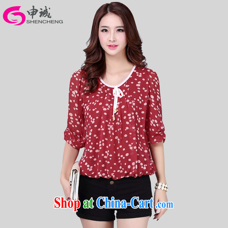 Shin Sung-XL girls with thick mm amazing graphics thin Korean OL temperament 100 ground dot the Point snow woven stamp T shirts female 7 snow cuff woven shirts 8615 wine red M