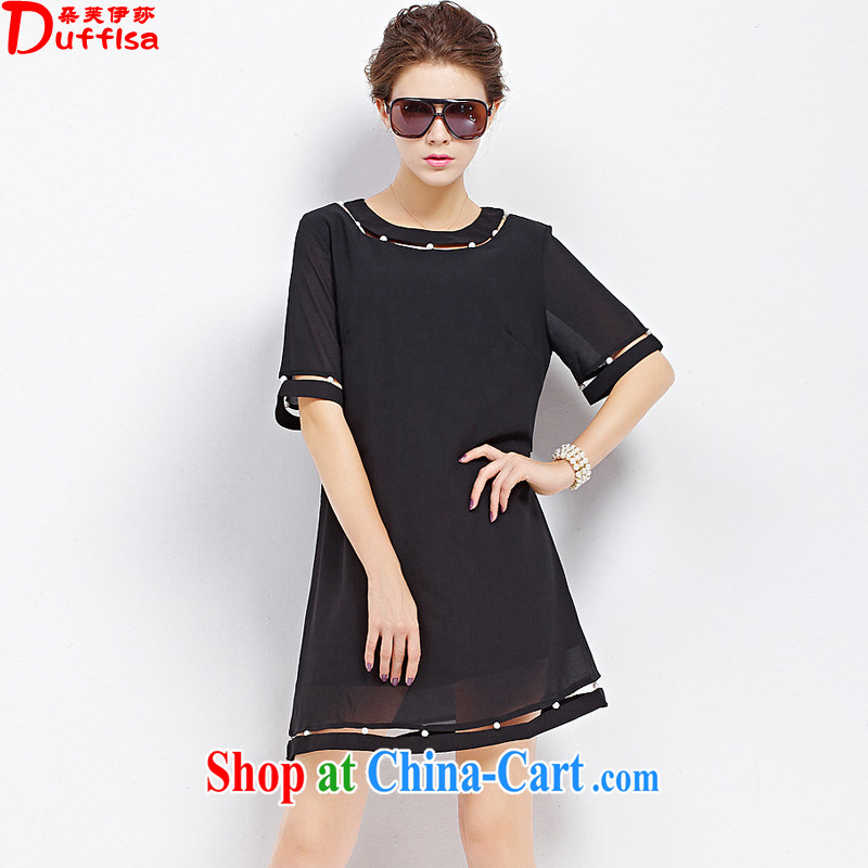 flower girl the Isabel The European site is the girl with thick sister Sau San video thin the pearl short-sleeved snow woven dresses girls summer 1880 D Black 5 XL