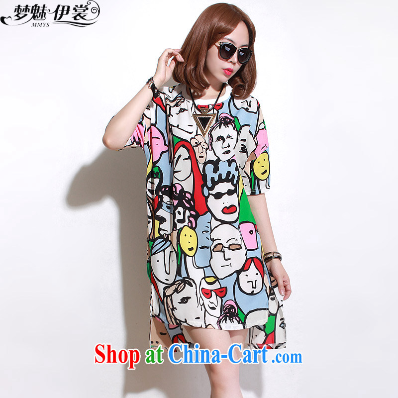 Director of the Advisory Committee in Europe summer wear loose video thin and thick XL girls thick mm stamp duty, long, snow-woven short-sleeve double-yi skirt graffiti face loose all code