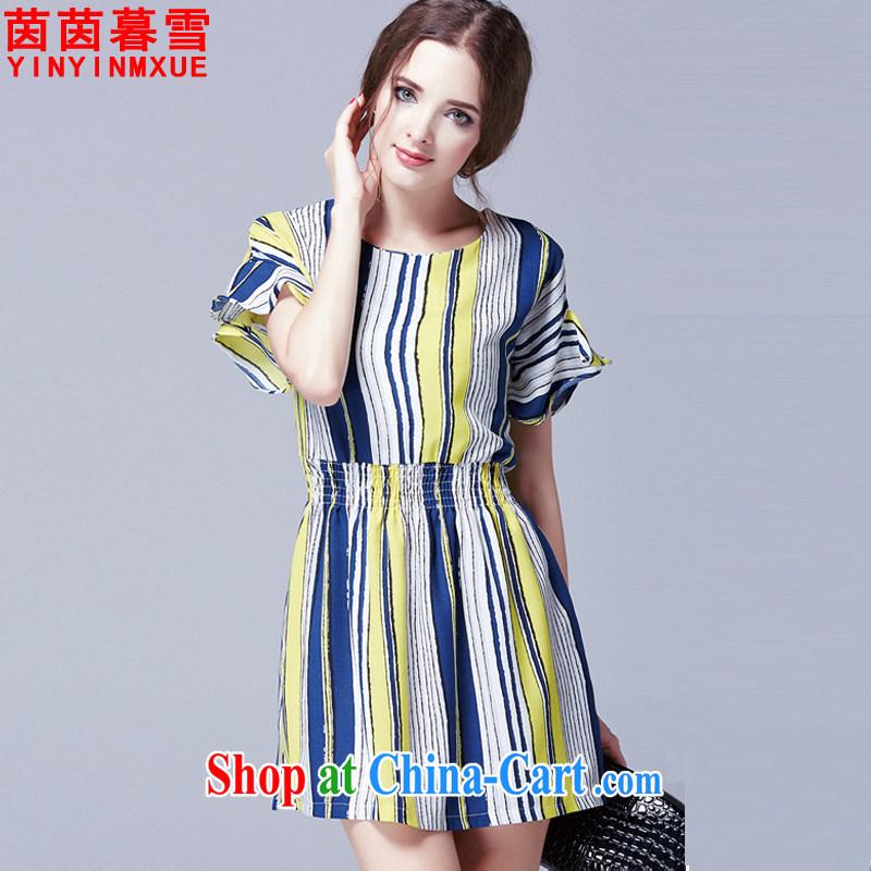 Athena Chu Yan and snow 2015 summer new, larger women Beauty Fashion stripes dresses female LYQ 248 yellow 5 XL