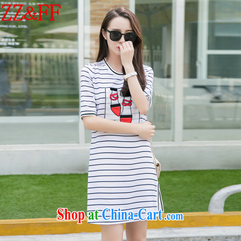 ZZ _FF 2015 summer new larger cuff in Yau Ma Tei cotton embroidery relaxed dress stripes skirt solid A field skirt girls DM 9113 white M