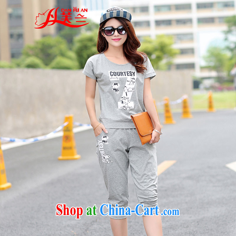 Bin Laden could be estimated _DAN FU AN_ The Code women 2015 new Korean leisure stamp T-shirts 7 pants two-piece short sleeve with light gray 4 XL _165 - 180 _ jack