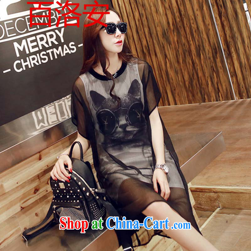 100, and 2015 new Snow-woven shirts thick mm and indeed increase, female short-sleeve thick sister graphics thin dresses A 2255 black XXXL