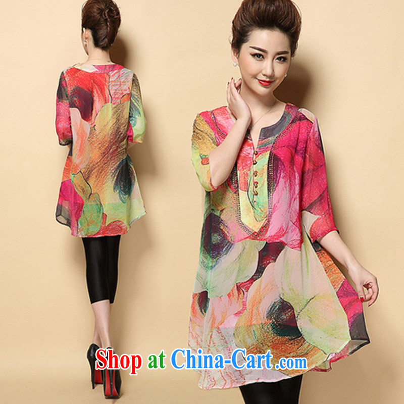 Cheuk-yan Zi spent 2015 summer middle-aged mother with dress loose stamp hot drill middle-aged and older XL female picture color XXXXL