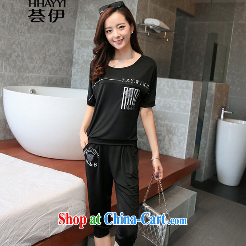 Aloe Vera, summer 2015 with new, larger female leisure taxi short-sleeve female Korean two-piece Sport Kits HY 1022 black XXXXL
