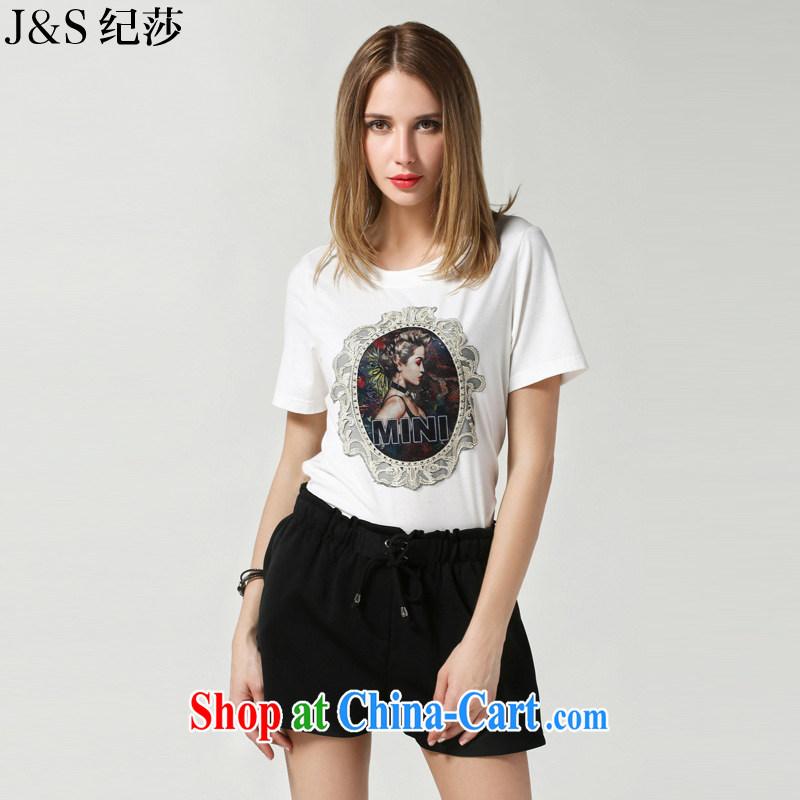 Elizabeth and 2015 the United States and Europe, female summer New Beauty trend patterns stamp short-sleeve cotton T-shirt thick mm loose female T-shirt SN 3616 - White 5 XL