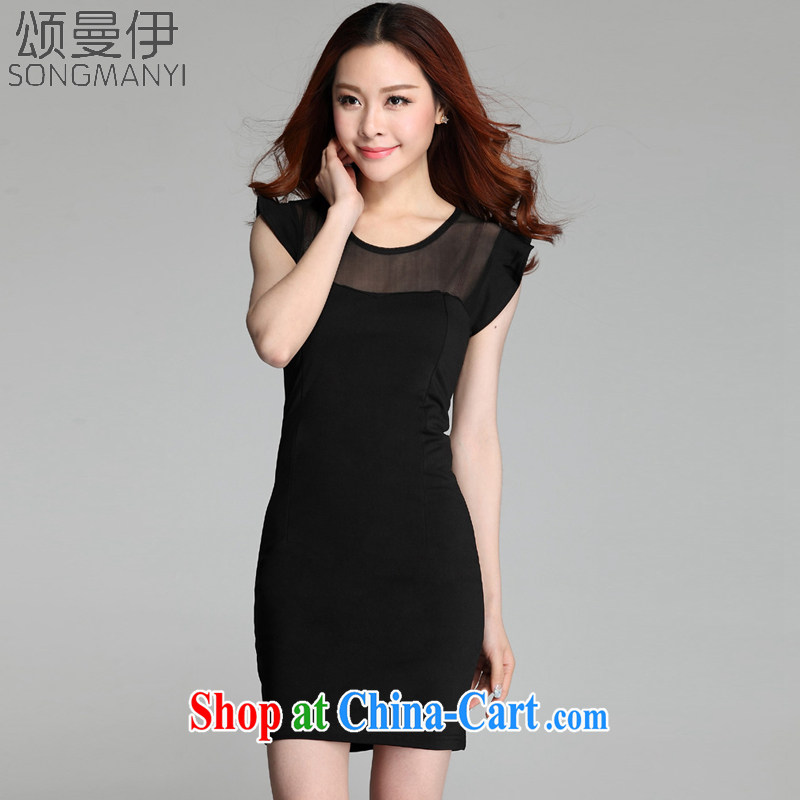 Also, the 2015 summer new night sexy Web yarn stitching package and thin skirt new OL temperament dress 1006 black XXXL