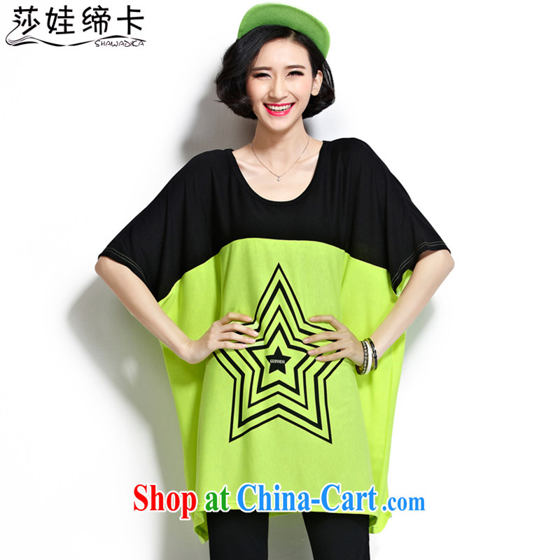 She concluded her card thick sister T-shirt summer graphics thin, king size, thick, female fat girl is indeed the XL female 200 Jack Korean short-sleeved thick mm T-shirt loose fluorescent green is code 90 to 220 jack can be seen wearing