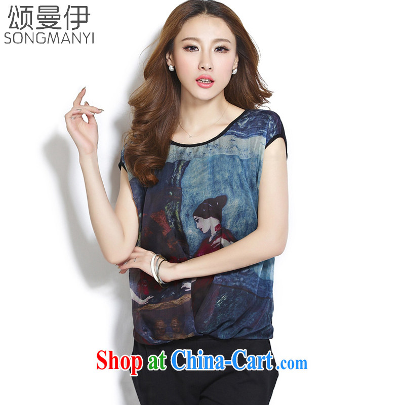 Also, the 2015 summer new, larger women mm thick snow woven T-shirt girls short-sleeved loose video thin T-shirt T pension women 8052 black XXXXL