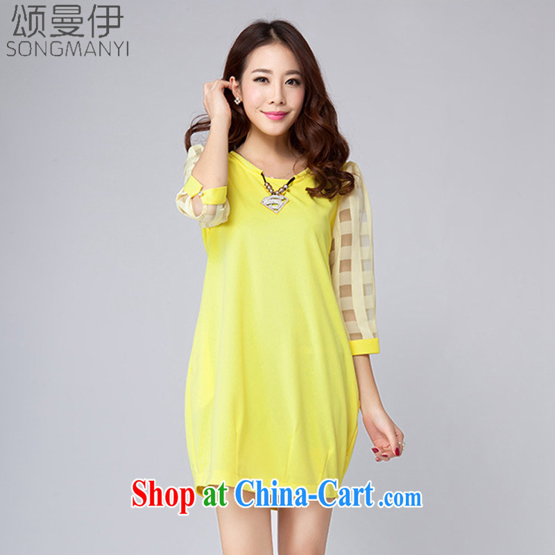 Also, the 2015 summer new Korean version the Code women's clothing stylish Solid Color 7 cuffs loose video thin dress shirt T female 612 yellow XXXXL