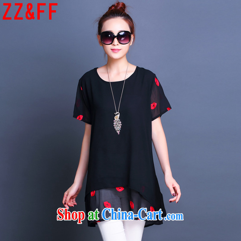 ZZ _FF 2015 summer new, larger female loose snow woven double beauty dress shirt solid female LYQ 6677 black XXXXXL