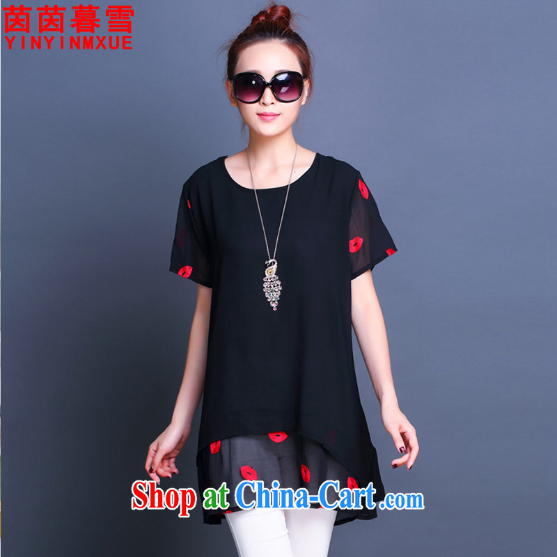 Athena Chu Yan and snow 2015 summer new, larger female loose snow woven leave two beauty dress shirt solid female LYQ 6677 black 5 XL