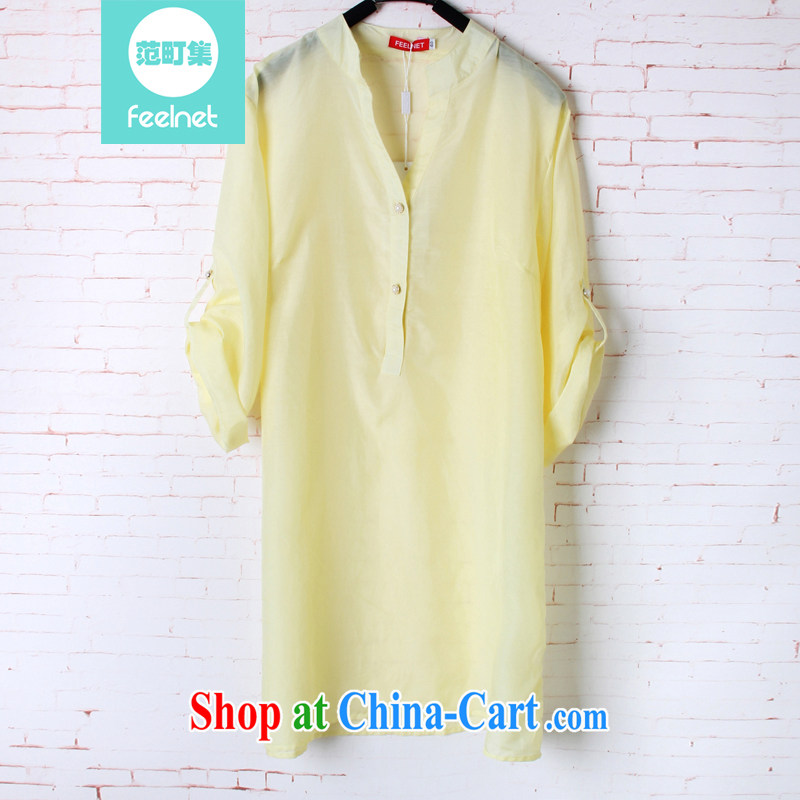 feelnet XL women mm thick 2015 summer new, loose, long sleeves in silk shirt 1630 yellow 48 code - the recommended 90 - 150 kg
