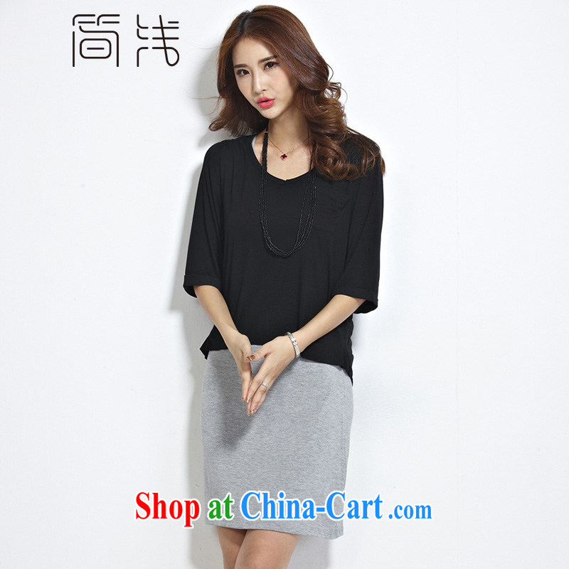 In short light 2015 summer new, larger female summer and indeed intensify dress Kit female summer thick girls with graphics thin, 1238 black and gray 6 XL